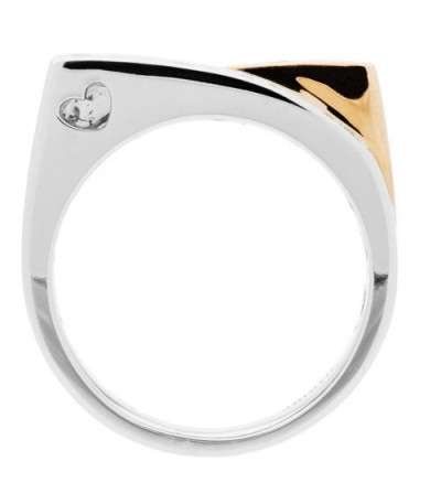 0.50 Carat Square Cut Emerald and Diamond Ring 14Kt Two-Tone Gold