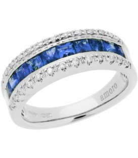 Rings - 1.74 Carat Square Cut Sapphire and Diamond Ring 14Kt White Gold
