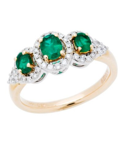 Rings - 0.94 Carat Oval Cut Emerald and Diamond Ring 14Kt Two-Tone Gold