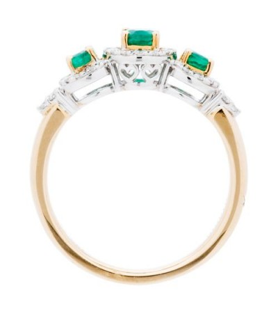 0.94 Carat Oval Cut Emerald and Diamond Ring 14Kt Two-Tone Gold