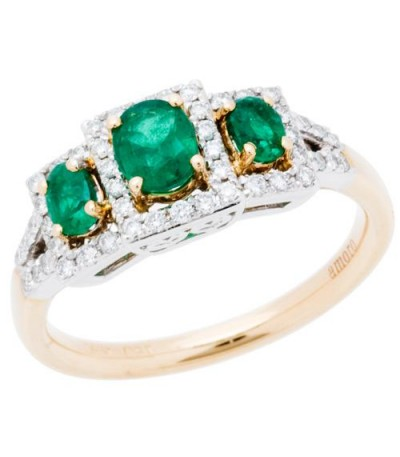 Rings - 1.01 Carat Oval Cut Emerald and Diamond Ring 14Kt Two-Tone Gold