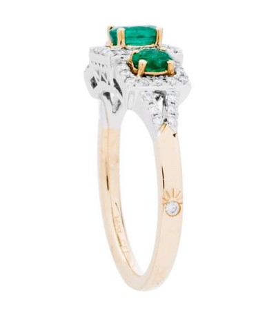 1.01 Carat Oval Cut Emerald and Diamond Ring 14Kt Two-Tone Gold