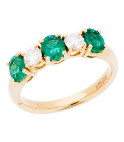 Rings - 1.34 Carat Oval Cut Emerald and Diamond Ring 14Kt Yellow Gold