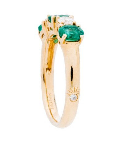 1.34 Carat Oval Cut Emerald and Diamond Ring 14Kt Yellow Gold