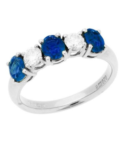 Rings - 1.88 Carat Oval Cut Sapphire and Diamond Ring 14Kt White Gold