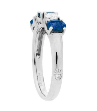 1.88 Carat Oval Cut Sapphire and Diamond Ring 14Kt White Gold