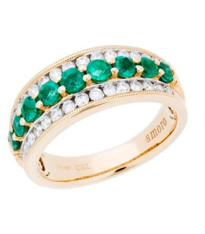 Rings - 1.43 Carat Round Cut Emerald and Diamond Ring 14Kt Two-Tone Gold