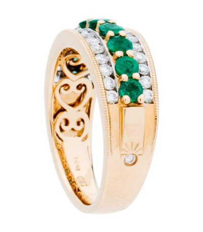 1.43 Carat Round Cut Emerald and Diamond Ring 14Kt Two-Tone Gold