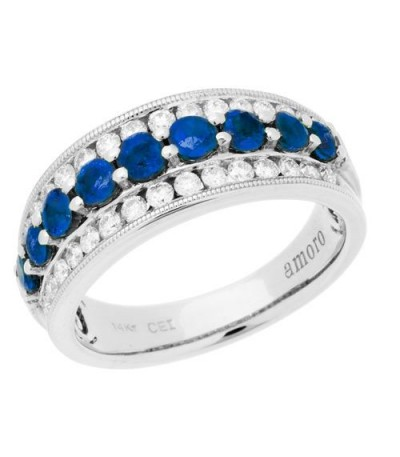 Rings - 1.47 Carat Round Cut Sapphire and Diamond Ring 14Kt White Gold