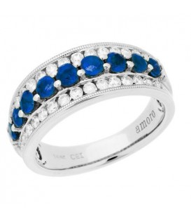 More about 1.47 Carat Round Cut Sapphire and Diamond Ring 14Kt White Gold
