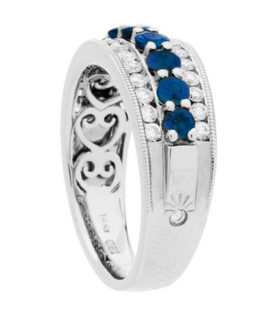 1.47 Carat Round Cut Sapphire and Diamond Ring 14Kt White Gold