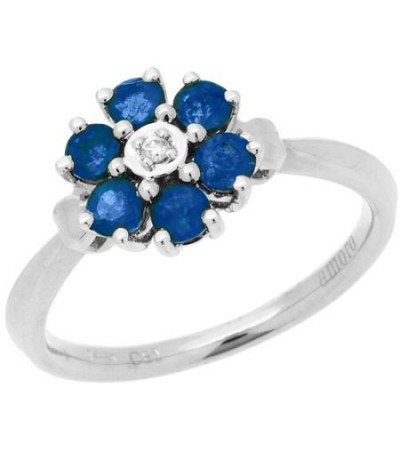 Rings - 0.76 Carat Round Cut Sapphire and Diamond Ring 14Kt White Gold