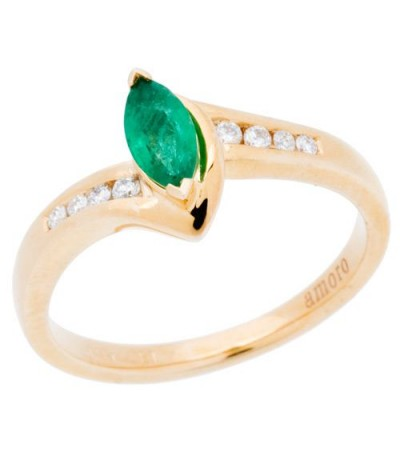 Rings - 0.45 Carat Marquise Cut Emerald and Diamond Ring 14Kt Yellow Gold