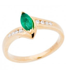 More about 0.45 Carat Marquise Cut Emerald and Diamond Ring 14Kt Yellow Gold