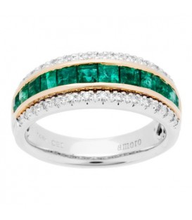 Rings - 1.47 Carat Square Cut Emerald and Diamond Ring 14Kt Two-Tone Gold