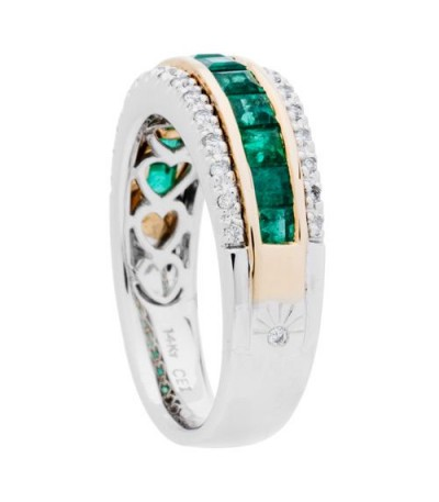 1.47 Carat Square Cut Emerald and Diamond Ring 14Kt Two-Tone Gold