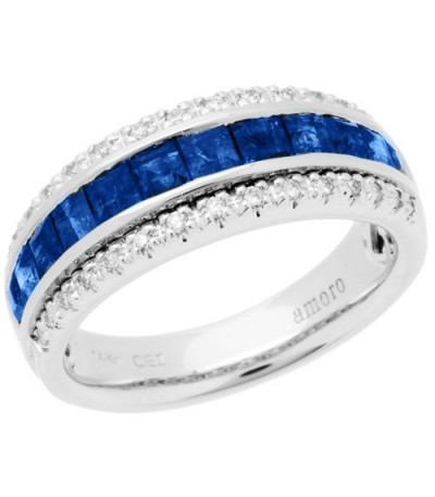 Rings - 1.85 Carat Square Cut Sapphire and Diamond Ring 14Kt White Gold