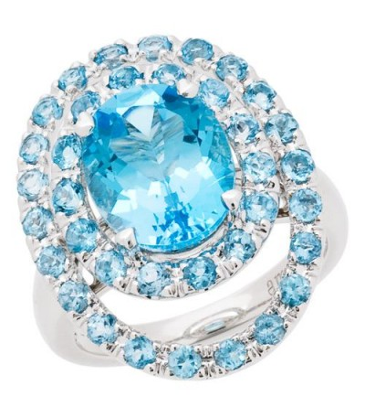 Rings - 6.28 Carat Oval Cut Blue Topaz Ring 14Kt White Gold