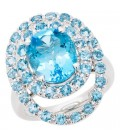 6.28 Carat Oval Cut Blue Topaz Ring 14Kt White Gold