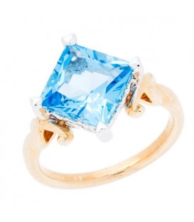 Rings - 4.21 Carat Square Cut Blue Topaz Ring 14Kt Two-Tone Gold