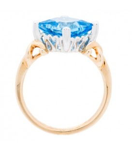 4.21 Carat Square Cut Blue Topaz Ring 14Kt Two-Tone Gold