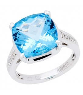 Rings - 8.35 Carat Square Cut Blue Topaz and Diamond Ring 14Kt White Gold