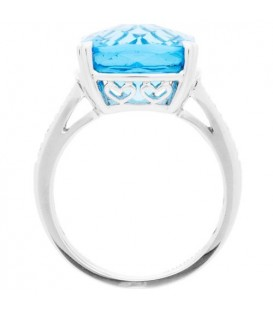 8.35 Carat Square Cut Blue Topaz and Diamond Ring 14Kt White Gold