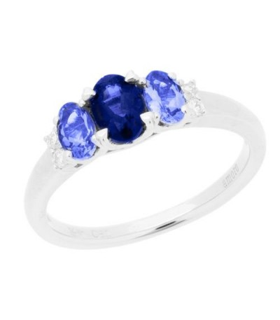 Rings - 1 Carat Oval Cut Amethyst, Tanzanite and Diamond Ring 14Kt White Gold