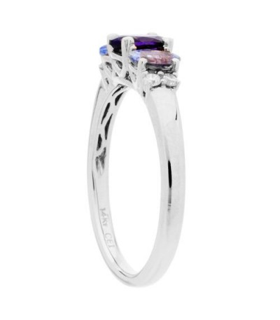 1 Carat Oval Cut Amethyst, Tanzanite and Diamond Ring 14Kt White Gold