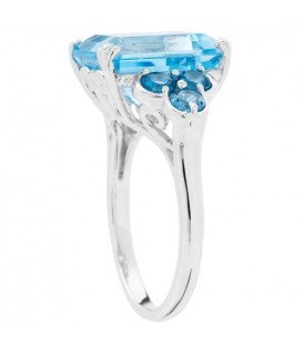 5.41 Carat Emerald Cut Sky Blue Topaz Ring in Sterling Silver