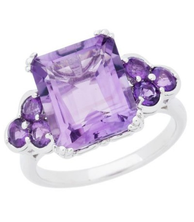 Rings - 5.20 Carat Emerald Ct Amethyst Ring Sterling Silver
