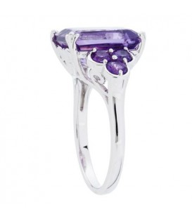 5.20 Carat Emerald ct Amethyst Ring Sterling Silver