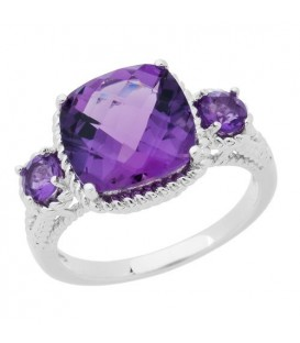 Rings - 3.64 Carat Cushion Cut Amethyst Ring in 925 Sterling Silver