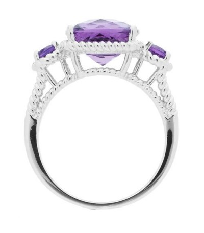 3.64 Carat Cushion Cut Amethyst Ring in 925 Sterling Silver