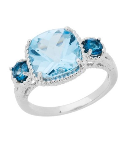 Rings - 3.86 Carat Cushion Cut Blue Topaz Ring in 925 Sterling Silver