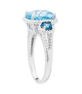 3.86 Carat Cushion Cut Blue Topaz Ring in 925 Sterling Silver