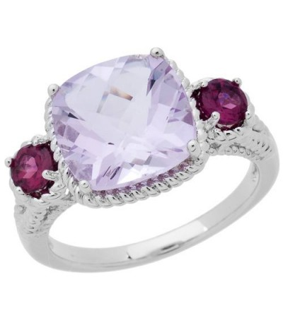 Rings - 3.62 Carat Cushion Cut Pink Amethyst and Rhodolite Ring in 925 Sterling Silver