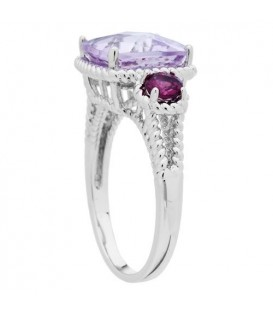 3.62 Carat Cushion Cut Pink Amethyst and Rhodolite Ring in 925 Sterling Silver