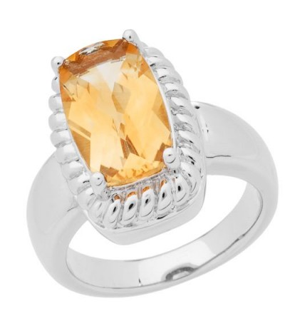 Rings - 3.80 Carat Cushion Cut Citrine Ring in 925 Sterling Silver