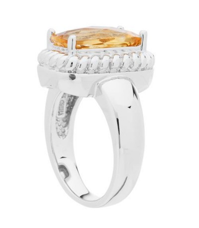 3.80 Carat Cushion Cut Citrine Ring in 925 Sterling Silver