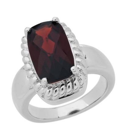 Rings - 3.50 Carat Cushion Cut Garnet Ring in 925 Sterling Silver