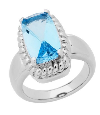 Rings - 4 Carat Cushion Cut Blue Topaz Ring in 925 Sterling Silver Ring
