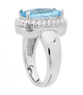 4 Carat Cushion Cut Blue Topaz Ring in 925 Sterling Silver Ring