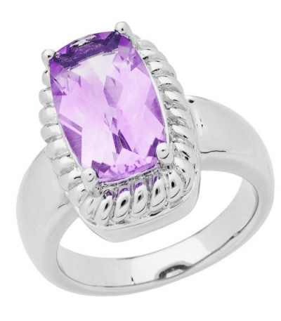 Rings - 3.50 Carat Cushion Cut Amethyst Ring in 925 Sterling Silver