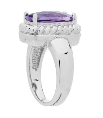 3.50 Carat Cushion Cut Amethyst Ring in 925 Sterling Silver