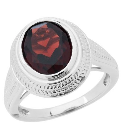 Rings - 2.50 Carat Oval Cut Garnet Ring 925 Sterling Silver
