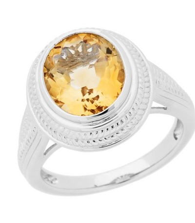 Rings - 2.50 Carat Oval Cut Citrine Ring in 925 Sterling Silver