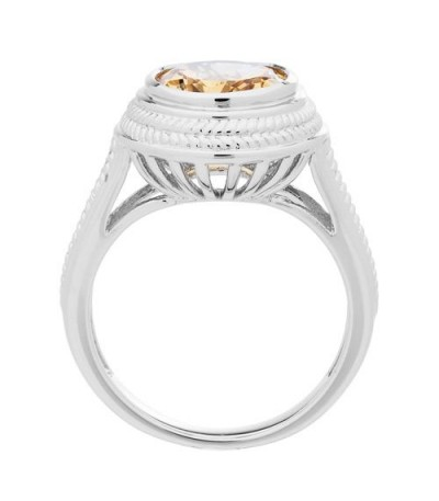 2.50 Carat Oval Cut Citrine Ring in 925 Sterling Silver