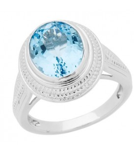 Rings - 3.50 Carat Oval Cut Blue Topaz Ring in 925 Sterling Silver