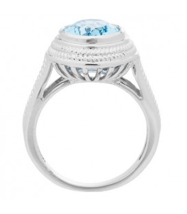 3.50 Carat Oval Cut Blue Topaz Ring in 925 Sterling Silver